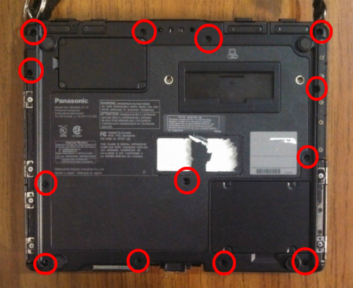 remove these screws from the bottom bezel of the Toughbook CF-19