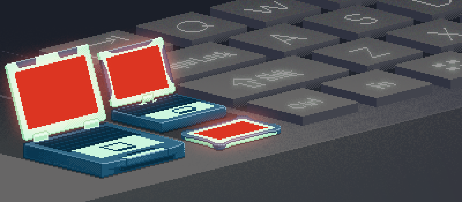 Pixel-art Toughbooks and a giant keyboard sit on a mysterious ledge or something